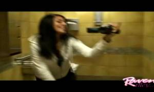 Raven Riley Having Fun In A Public Bathroom